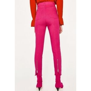Zara Pants - Zara Woman High Waist Skinny Pink Trouser Pants